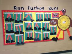 """Turkey verbs activity to go with """"Run, Turkey, Run!""""  I've got a wall ready...I think this is going to be our verb wall!"""