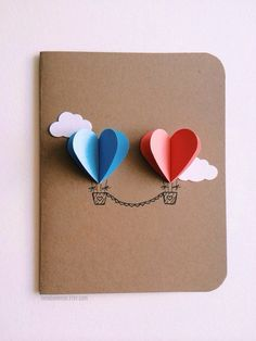 Etsy の Couple Heart Hot Air Balloon Card by theadoration