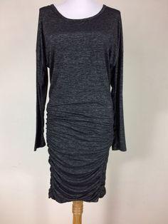 ATHLETA Women's Small Heather Gray Ruched Tulip Long Sleeve Dress Style# 138092 #Athleta #Bodycon #Casual