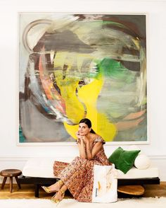 Fashion Editor Giovanna Battaglia Brings an Eye for Style to Her Stock Battaglia-Engelbert sits on a Jean Prouve daybed beneath the living room s Albert Oehlen painting Giovanna Battaglia, Painting Inspiration, Art Inspo, Style Inspiration, Stockholm Apartment, Manhattan Apartment, Oeuvre D'art, Contemporary Art, Contemporary Kitchens