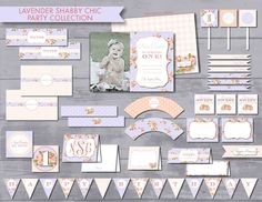 Lavender Shabby Chic Party Collection - DIY Printable Files (Partial Instant Download) by xxPepperAvenuexx on Etsy https://www.etsy.com/listing/206881145/lavender-shabby-chic-party-collection
