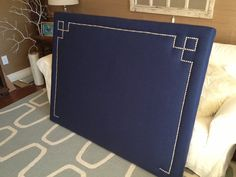 Queen Or Full Rectangle Upholstered Headboard, Navy Blue, Silver Nickel Nailhead