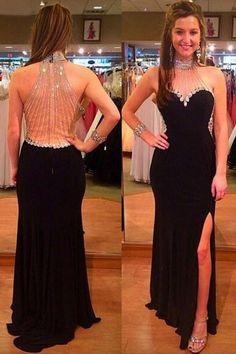 0701504b52 Halter Black Split Floor-Length Prom Dress with Beading Rhinestones PG281   promdressses  dress. Pgmdress