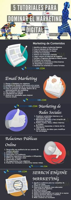 5 tutoriales para dominar el Marketing Online #infografia #infographic #marketing Más