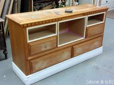good how to regarding furniture redos.... this one involves converting a dresser to tv stand but note drawer removal and adding shelf areas with mdf, also add'l trim on front....