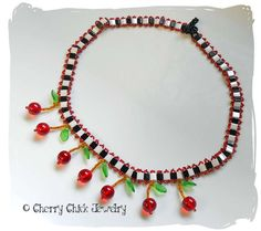 Cherry Necklace with Checks #Cherries