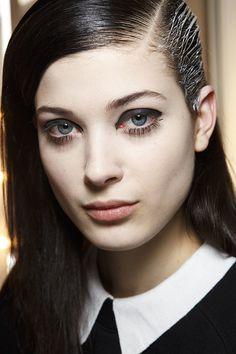 Dark eyes and painted hair at Maxime Simoens Fall 2014  - Runway Beauty at Paris Fashion Week #PFW