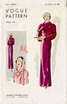 1930s 30s vintage Vogue women's sewing pattern art deco gown evening wrap film noir style b36 bust 36 Vogue 6494