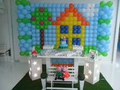 decoração george pig menino, peppa, mesa temática, clean, tapete de grama, casinha, ideia, inspiração, festa criança, festa menino, bebê, 1 aninho, pig, papai pig, mamãe pig