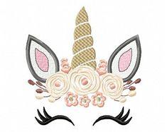 Pretty Unicorn Eyes Head Floral Design - Unicorn EMBROIDERY DESIGN FILE - Unicorn Shabby Chic Face Instant download - 4 sizes