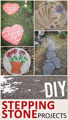 "DIY Stepping Stones for Your Yard and Garden--Spring time is the perfect time to revamp the garden and make it ""the place to be."" Making your own stepping stones is a great way to spruce up the garden—and it's a fun project for the whole family! Get inspired with these ideas:"
