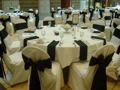 White & Black Table Setup at St. Charles