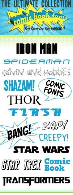 FREE Comic Book fonts! These will be perfect to use in a superhero party!