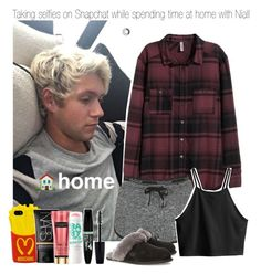 """Taking selfies on Snapchat while spending time at home with Niall"" by marissaackles997 ❤ liked on Polyvore featuring H&M, Topshop, Moschino, NARS Cosmetics, Maybelline, Rimmel and UGG Australia"