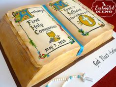 Antique bible first communion cake