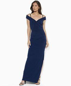 Lauren Ralph Lauren Dress, Cap-Sleeve Ruched Jersey Gown - Womens Dresses - Macy's *Moms idea