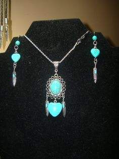 Native American Turquoise Colored Heart Jewelry by ChippewaCrafts $19.99 on ETSY!
