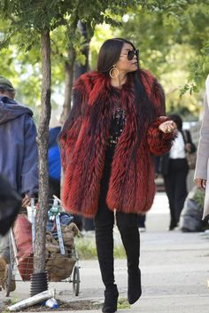 Cookie Lyon wearing  MSGM Fringed Paisley Print Blouse, Georgine Fall15 Fur Coat