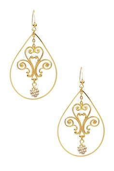 Di Petali Open Pear & Pave Austrian Crystal Ball Drop Earrings  $14.00  85.00  84% off  - 14K gold plated open pear-shaped drop earrings with filigree petal and pave crystal ball center