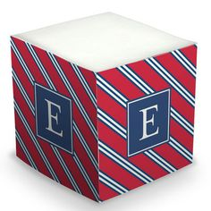 Red and Navy Repp Tie Sticky Memo Cube