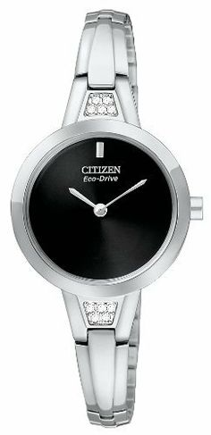 Citizen Women's EX1150-52E Silhouette Crystal Bangle Eco-Drive Stainless Steel Watch Citizen. $135.00. Stainless steel case and bangle. Water-resistant to 30 M (99 feet). 10 Swarovski crystals. Mineral glass crystal. Eco-Drive, fueled by light. Save 40% Off!