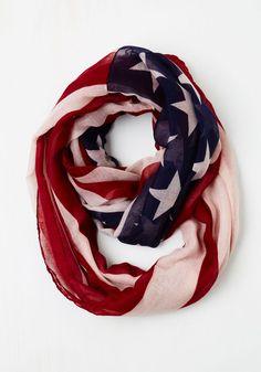 Humming to America Scarf - Multi, Novelty Print, Americana, Summer, Good, Woven