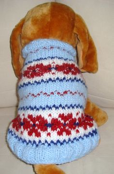 Hand Knit Dog SweaterRed Blue White Pet Coat by earflaphats, $30.00
