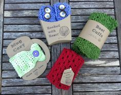 Crochet Gift Design Free templates - With craft show season in full swing and the holiday season upon us, it seems everyone is searching for that perfect gift item. Crochet Cup Cozy, Free Crochet, Knit Crochet, Craft Packaging, Product Packaging, Packaging Ideas, Crochet Boot Cuffs, Craft Fair Displays, Display Ideas