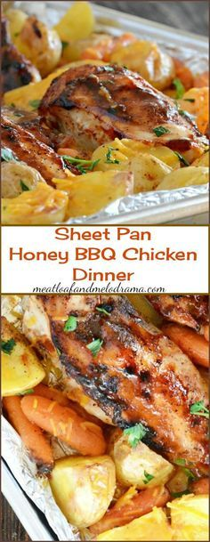 Sheet Pan Honey-BBQ Chicken Dinner. A one sheet pan roasted chicken and veggies dinner. Honey barbecued chicken with potatoes and carrots. (This recipe also calls for cheese .. but with all the other great flavors .. I really don't think it's needed here.)