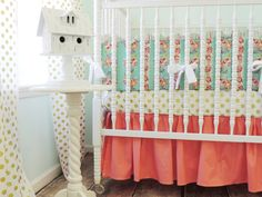 Baby Girl Nursery Perfection: Gold Dots + Coral + Floral! {How gorgeous is this bedding from @tushiestantrums?!}