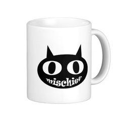 """Mischief Cat"" Coffee Mugs"