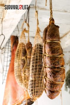 Smoking meat is typically combined with salt-curing or drying to extend the life of the meat as long as possible. Smoking removes moisture from the meat which results in a longer shelf life. Smoking and drying meat is a very efficient way to ensure you have food in the wild or in the case of a food shortage. #smokingmeat #saltcuring #dryingmeat #smokedmeat #survivallife Food Storage Organization, Food Storage Containers, Survival Life, Survival Skills, Long Term Food Storage, Life Guide, Long Shelf, Smoking Meat, Shelf Life