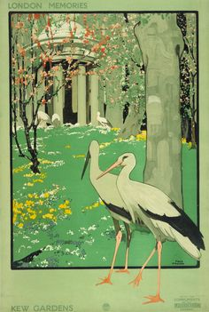 """""""London Memories Kew Gardens Poster by Fred Taylor: Love!""""  The way the birds come out of the posters box help create a better poster"""