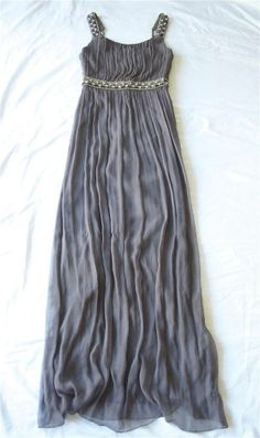MARIA BIANCA NERO Gray Chiffon Jeweled Full Length Formal Prom Gown Dress S 4 6.....$99.99 @Frock n Frill.com