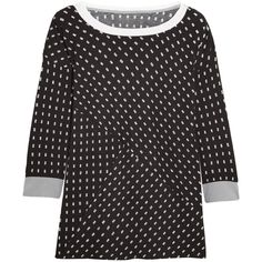 DKNY Printed stretch-modal jersey pajama top ($43) ❤ liked on Polyvore featuring intimates, sleepwear, pajamas, black, pajama tops, dkny sleepwear, pyjama tops, dkny pajamas and dkny