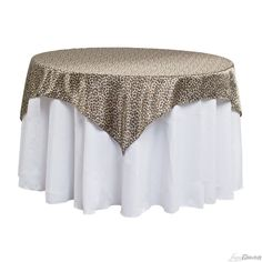 60 in. Square Satin Overlay Leopard Print for Weddings At LinenTablecloth