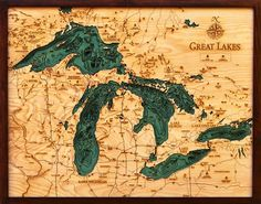 Great Lakes Topographic Map Small Wooden Framed | Wall Decoration