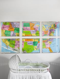 DIY instructions for a fragmented map art project.  (A little odd in an INFANT's room, but I guess this is the definition of decor you grow into? ;) )