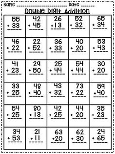 Great resource for double digit subtraction without regrouping.Other products you might be interested in:Double Digit Subtraction without Regrouping Worksheets. Math Addition Worksheets, Math Practice Worksheets, First Grade Math Worksheets, Printable Math Worksheets, 1st Grade Math, Math Exercises, Math School, Homeschool Math, Teaching Math