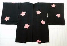 Japanese Vintage Kimono, HAORI, SILK, Black, SHIBORI, Flower P020112    eBay
