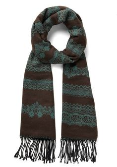 Rake the Best of It Scarf in Cocoa. Chores arent a bore around your house, especially when this fringed, brown-and-aqua scarf is your cleaning companion! #gold #prom #modcloth