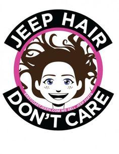 Jeep Hair Don't Care! 4-inch round vinyl sticker. Pink.  $4. #Jeep