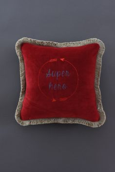 Super hero embroidered cushion