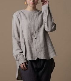 Front Buttons Long Hem Linen Shirt - /martafioretti/blusas-e-blusinhas/ over 400 BACK Fashion Mode, Boho Fashion, Womens Fashion, Fashion Design, Vetements Clothing, Mode Plus, Linen Blouse, Linen Tunic, Linen Dresses