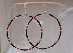 Seed Beaded Hoop Earrings  Black and Silver by HappyHillRescue, $10.00