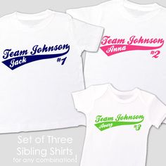 customized brother sister shirts, sporty team family, personalized matching t-shirts