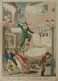 WORLDVIEW: The Good Effects of Carbonic Gas! by Issac Cruikshank, 1807. This cartoon illustrated the suspicion with which the new technology was viewed. People naturally understood the hazards associated with gas lighting and were resistant to its installation on city streets. It did not take long however until the hazards were forgotten  because of the advantages it afforded.