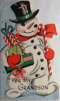 50s Glittered Snowman & Candy Cane-Vintage Diecut Christmas Greeting Card