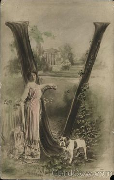 Lady in Pink Gown, Dog and 'V' Alphabet Letters