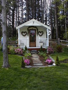 The cutest She Shed 10x16 cottage includes quaint porch. Recently featured in Better Homes and Gardens! Download DIY plans now $19.95! http://jamaicacottageshop.com/shop/pond-house/